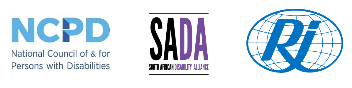Logos of National Council of and for Persons with Disabilities, South African Disability Alliance and Rehabilitation International