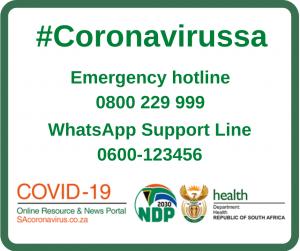 #coronavirussa Emergency hotline 0800 229999 WhatsApp Support Line 0600-123456