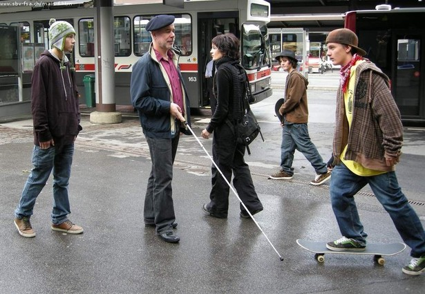 Walking using a white cane
