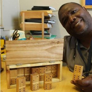 Edwin Pedro shows the quality handmade wooden items made at Die Werkswinkel