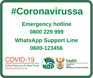 #coronavirussa Emergency hotline 0800 229999 WhatsApp Support Line 0600-123456